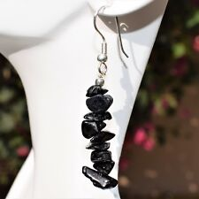 "CHARGED Black Tourmaline Crystal Chip Earrings  REIKI Energy! ZENERGY GEMS�""�"