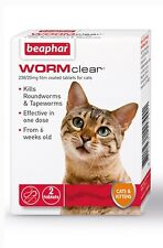 BEAPHAR WORMCLEAR VET STRENGTH DOG CAT KITTEN WORMING TABLETS TREATMENT PACK