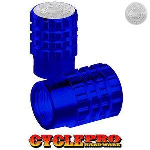 2 Blue Billet Knurled Tire Valve Cap Motorcycle - Blue Anodized 45 AUTO - 072