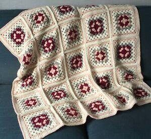 Handmade Crochet Granny Square Blanket Throw Pink Grey Cream Shabby Chic