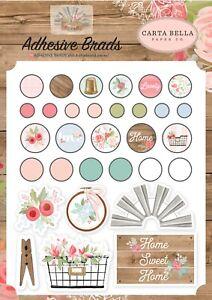 1 Pack of Carta Bella Paper FARMHOUSE MARKET Adhesive Decorative Brads