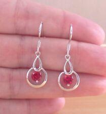 925 Ruby (Lab Created) Gemstone Earrings/Sterling Silver Ruby Stud Earrings/UK