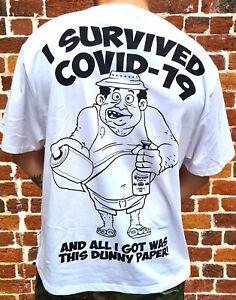 CORONA SURVIVOR WHITE FAMILY FRIENDLY LIMITED EDITION JOKE SHIRT + FREE POUCH!