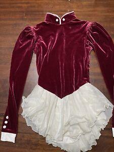 Del Arbour Skating Dress - Ladies 8-10 Romantic Deep Red Long Sleeved Zip Up