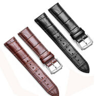 12mm-24mm Crocodile Grain Genuine Calf Leather Strap Watch Band for Mens Women