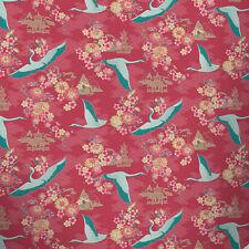 Carta da Parati Rasch-Oriental Flower-Portafoglio Floreale/Crane Birds-Rosso 219005