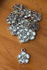 Antique Silver Frangipani Charms / Pendants x 15