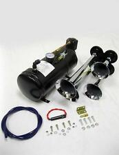 Chrome Quad 4 Trumpet Train Air Horn Kit + 150PSI Compressor 12v Semi Boat 150dB