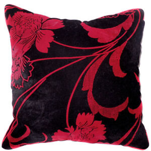 UF185a Red Flower on Black Velvet Style Cushion Cover/Pillow Case *Custom Size