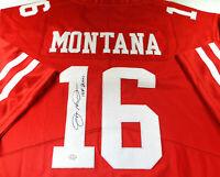 JOE MONTANA / NFL HALL OF FAME / AUTOGRAPHED 49ERS RED PRO STYLE JERSEY / COA