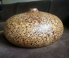 "Large 12"" Decorative Wood Chip Pottery Vase Home Decor Collectable - L👀K!"
