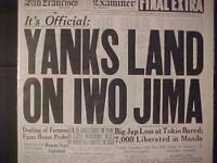 VINTAGE NEWSPAPER HEADLINE ~WORLD WAR 2 YANKS IWO JIMA ISLAND INVASION WWII 1945