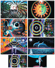 WHOLESALE 24 POSTERS 8x3 UV-Blacklight Glow-In-The-Dark Psychedelic Psy Goa Art