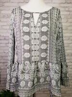 Como Vintage size L tunic shirt gray and white boho bell sleeves keyhole neck