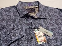 NWT Robert Graham Mens 2XL Long Sleeve Button-Front Blue Paisley Shirt New