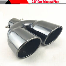 "2.5"" 63mm Car Dual Pipe Exhaust End Tip Tail Throat Titan Black Stainless Steel"