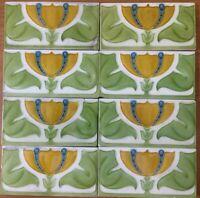 Antique rare art vintage England nouveau border collectible tile majolica c1900