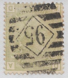 """GB QV 4d Sage-Green SG153Wi Plate 16 Inverted Watermark """"AD"""" Used 1877 Stamp"""