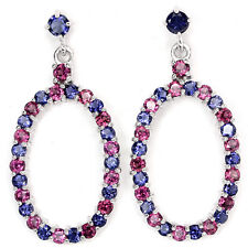 Sterling Silver 925 Genuine Rich Blue Violet Iolite & Rhodolite Dangle Earrings