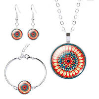 3PC Mandala Flower Pendant Glass Cabochon Silver Necklace Bracelet & Earring Set