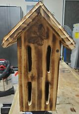Hand Made Thick Wooden Butterfly House with Torched Finish and Waterproofed.