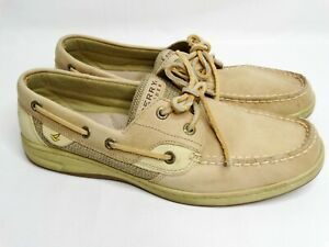 Sperry Top Sliders Bluefish Boat Shoes Womens 9 M Tan Leather Casual Flat Loafer