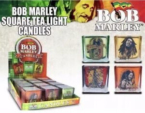 Set Of 4 BOB MARLEY Square Tea Light Holders + 4 Vegetable Wax Candles Included