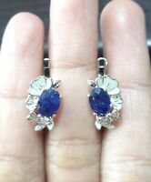 AMAZINGLY NATURAL SAPPHIRE WHITE CZ -STERLING 925 SILVER EARRING