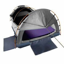 Camping Canvas Swag Waterproof Tent Air Pillow Double 2 Person Carry Bag Grey