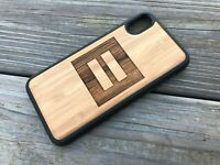 iPhone X Case Equality Symbol Back Cover Bamboo Wood Cover + TPU Wrapped Edges