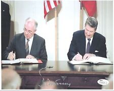 MIKHAIL GORBACHEV HAND SIGNED 8x10 PHOTO       GREAT POSE+RONALD REAGAN      JSA