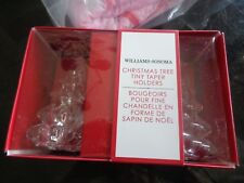 2 sets of 2 Williams Sonoma Christmas glass Taper holders New wo tag