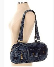 Denim Handbag Shoulder Style Purse, Cute Casual Retro Pockets & Zippers Blue New