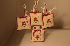 Christmas Flower Ornament Cross Stitch Completed set of 4