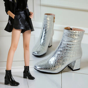 Womens Fashion Sqaure Toes Patent Leather Block Heels Ankle Boots Shoes