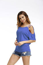 Womens Cold Shoulder Loose Shirt Blouse Ladies Casual Short Sleeve Summer Tops Blue 2xl
