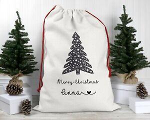 Personalised Christmas Tree Santa Sack, Luxury Xmas Eve Stocking For Adults 2021