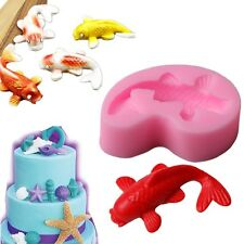 Silicone 3D Fish Shape Flexible Cake Mold Goldfish Cutter Decor Baking Tools