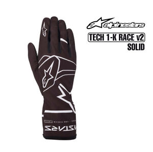 Go Kart - Alpinestars - Kart Gloves - TECH 1-K RACE SOLID v2 - Blk/White- Large