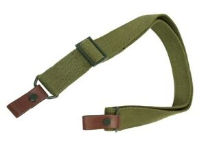 SKS Rifle Sling - Green Canvas - Metal Hardware - Leather Loop Tabs -NEW