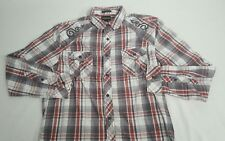 Helix Long Sleeve Button Up Athletic Fit Plaid Shirt Size Large