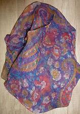 Damen Schal Tuch lila rot blau türkis gelb Blumen 100 % Viskose 100 x 100 - NEU