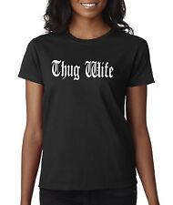 New Way 668 - Women's T-Shirt Thug Wife Happy Life Old English