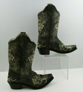 Ladies Old West Black/ Cream Snip Toe Western Cowgirl Boots Size: 5