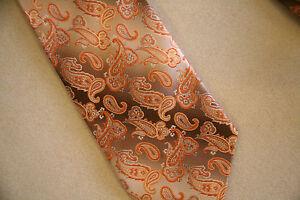 PRONTO UOMO Paisley orange peach brown 100% SILK Neck Tie NeckTie- LONG - Italy