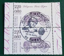 TIMBRE FRANCE OBLITERE EN PAIRE N° 2578 JOURNEE DU TIMBRE / DILIGENCE PARIS LYON