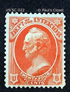 US SC O22 24¢ GEN. WINFIELD SCOTT- DEPARTMENT OF INTERIOR 1873 MHR OG F/VF