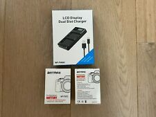 2 batteries LI-ion NP-FW50 compatibles + chargeur LCD double