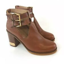 Topshop Size 40 UK7 Brown Leather Ankle Pull On Buckle Heeled Boho Booties Boots