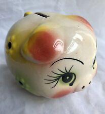Vintage Ceramic Piggy Bank Coin Bank Raised Daisy Flowers & BIg Eyes